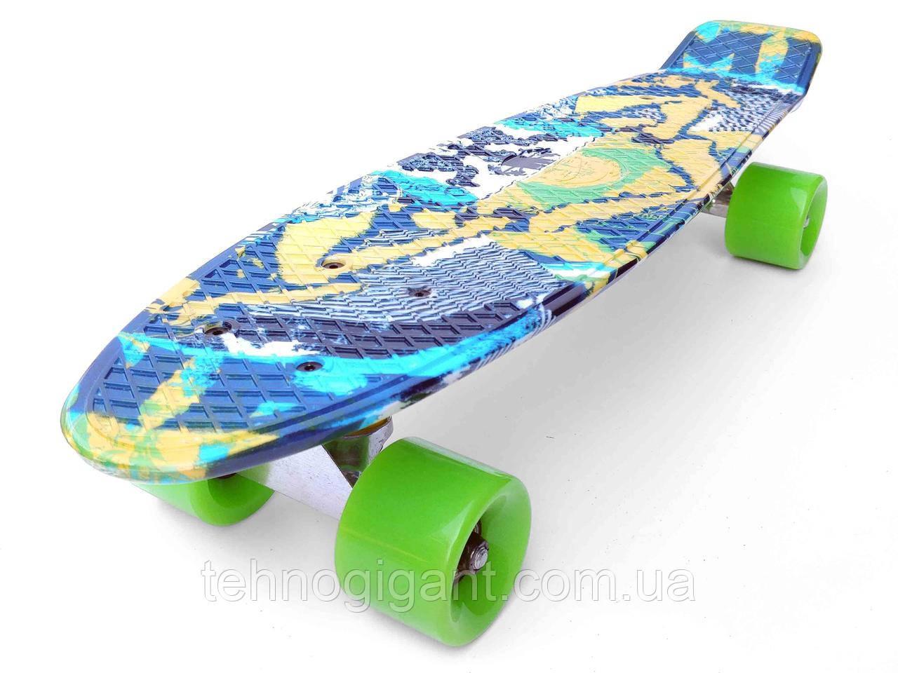 Скейт Penny Board, с широкими колесами Пенни борд, детский , от 5 лет расцветка Абстракция