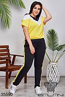 Женский спортивный костюм черный/желтый 48-50,52-54,56-58,60-62, фото 1