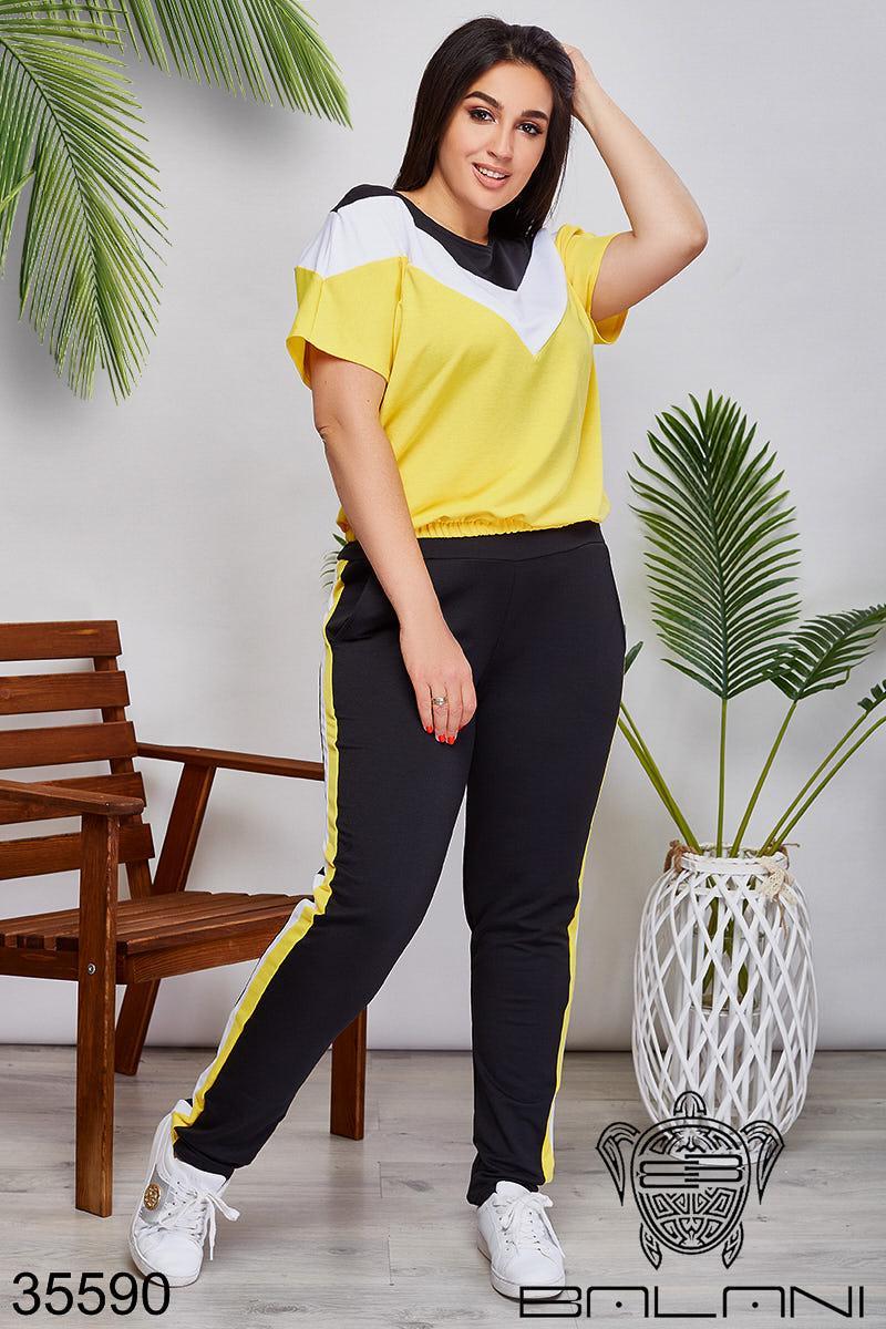 Женский спортивный костюм черный/желтый 48-50,52-54,56-58,60-62