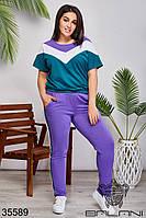 Женский спортивный костюм фиолетовый/бирюза 48-50,52-54,56-58,60-62, фото 1