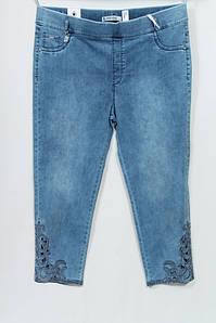 Турецкие летние женские укороченные джинсы - капри, батал 48-64