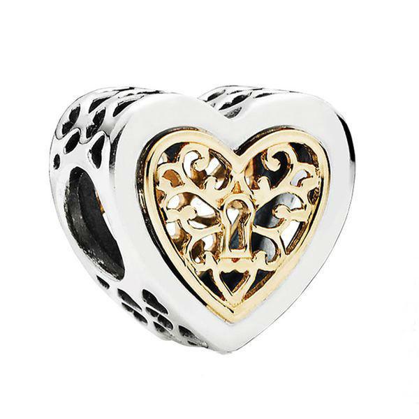 Серебряно-золотой шарм «Сердце на замок» в стиле Pandora