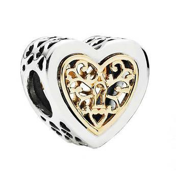Серебряно-золотой шарм «Сердце на замок»