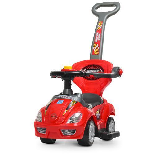 Каталка-толокар M 4205-3 (1шт) родительская ручка, муз,руль-пищалка,багажник под сиденьем, красный