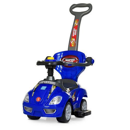 Каталка-толокар M 4205-4 (1шт) родительская ручка, муз,руль-пищалка,багажник под сиденьем, синий