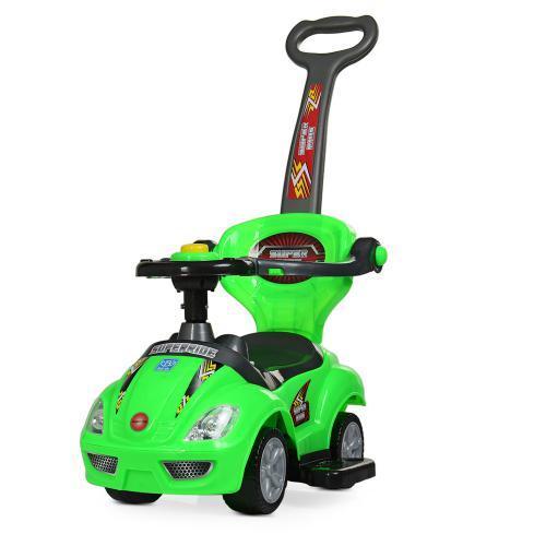 Каталка-толокар M 4205-5 (1шт) родительская ручка, муз,руль-пищалка,багажник под сиденьем, зеленый