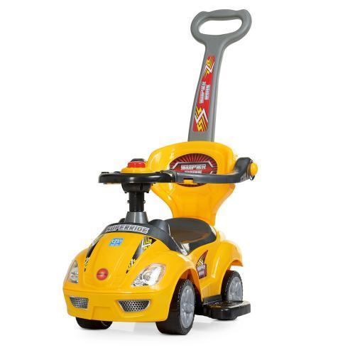 Каталка-толокар M 4205-6 (1шт) родительская ручка, муз,руль-пищалка,багажник под сиденьем, желтый