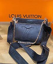 Чорна жіноча сумка в стилі Louis Vuitton Луї Вітон 3 в 1
