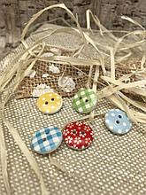 Деревянные круглые пуговички с рисунками, диам. 1.5 см., 5 шт в упаковке, 12/10 (цена за 1 уп. + 2 гр.)
