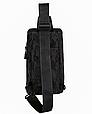 Сумка слінг чорна чоловіча текстиль легка на груди барсетка через плече месенджер 509, фото 6