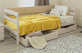 Дерев'яне дитяче ліжко Маріо з ящиками з м'якою спинкою Олімп