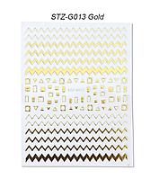 Гибкая 3D наклейка для ногтей (маникюра) STZ-G013 золото