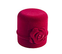 Футляр бархатный для кольца Цилиндр с розой