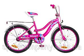 """Велосипед 20"""" Formula FLOWER 14G St розовый с багажником зад St, с крылом St 2018"""