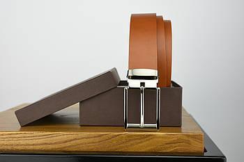 Мужской брючный кожаный ремень рыжего цвета размер s