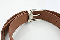 Мужской брючный кожаный ремень рыжего цвета размер s, фото 2