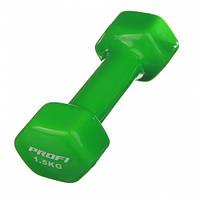 Гантель виниловая Profi 1.5 кг (0665) Зеленая