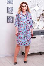 Стильное платье-рубашка размер плюс Миранда 3 цвета (52-62)