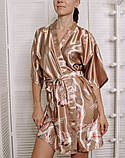 Атласний Халат жіночий з принтом Журавлі. Шовковий Халатик для дому (бежевий), фото 2