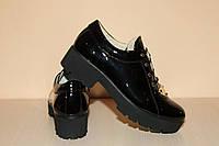 Туфли кожаные женские лаковые черные на шнурках 40