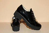 Туфли лакированная кожа женские ,лаковые черные на шнурках 40 р. арт 34., фото 1