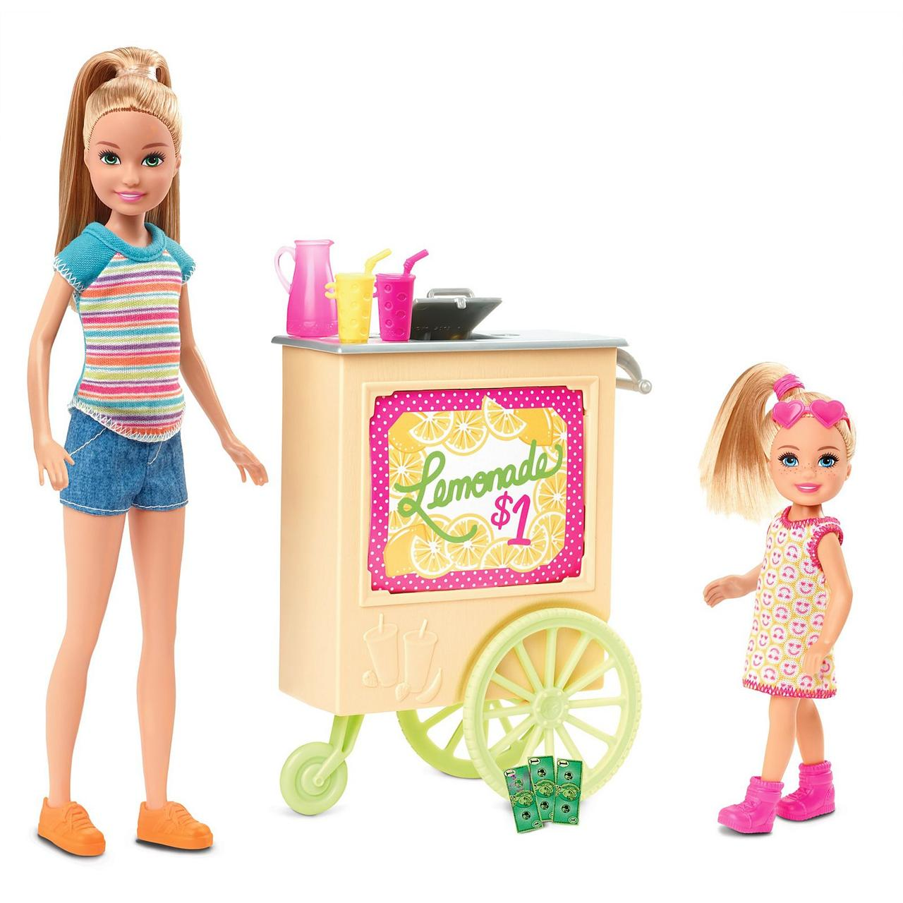 Игровой набор Лимонадный киоск Барби с куклами Стейси и Челси