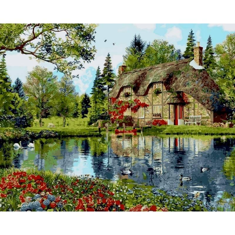 Картина по номерам Коттедж с видом на озеро, 40x50 см., Mariposa Q2201