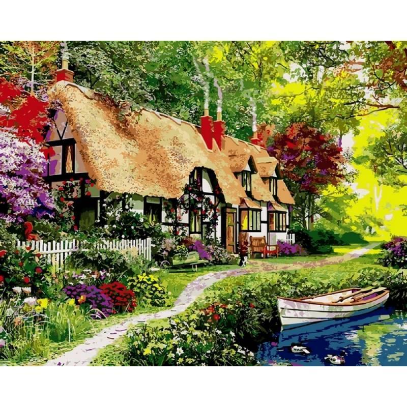 Картина по номерам Коттедж для прогулок по лесу, 40x50 см., Mariposa Q2202