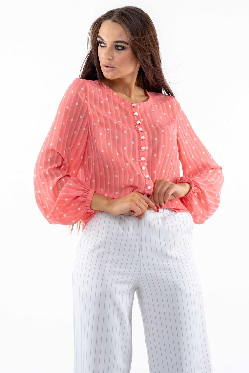 Женственная шифоновая блуза Donna (42–52р) коралл, фото 1