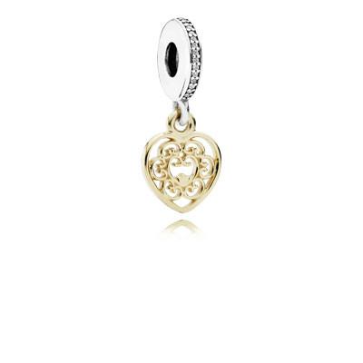Шарм-подвеска «Очаровательное сердце» из серебра 925 пробы с золотом в стиле Pandora