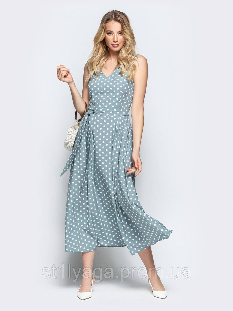 Силуэтное платье-миди в горох  ЛЕТО
