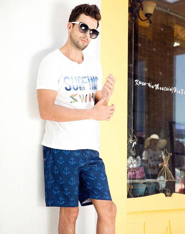 Синие шорты с якорями Qike