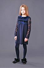 Школьное синее платье тм Моне р-ры 122,128,134,146,152