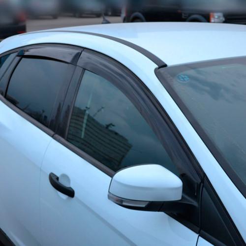 Дефлекторы окон ветровики Форд Фокус 3 Ford Focus III 11- COBRA TUNING (Накладные)
