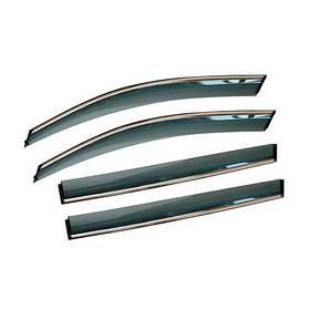 Дефлекторы окон ветровики хром Грейт Вол Новер (Н3/Н5) Great Wall Hover (H3/H5) 05- ALVI-STYLE (Накладные)