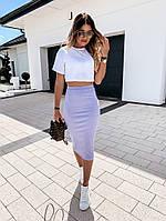 Женский костюм белый-лиловый 42-44 и 44-46 вискоза-трикотаж SKL11-250647