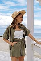 Костюм женский льняной шорты рубашка белый , розовый , джинс, хаки , красный , мокко, горчица 42-44, 44-46