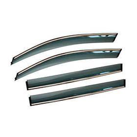 Дефлекторы окон ветровики хром Санг Йонг Актион SsangYong Actyon 05- ALVI-STYLE (Накладные)