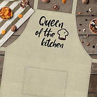 "Фартук для кухни из саржи Arivans ""Queen of the kitchen"", 78х62х120 см., бежевый"