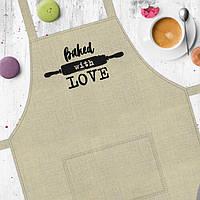 """Фартук для кухни из саржи Arivans """"Baked with love"""", 78х62х120 см., бежевый"""