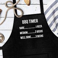 "Фартук для кухни из саржи Arivans ""BBQ TIMER"", 78х62х120 см., черный"