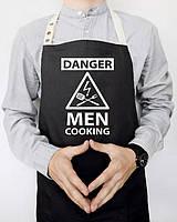 """Мужской фартук для кухни из саржи Arivans """"Danger men cooking"""", 78х62х120 см, черный. Подарок парню, мужчине"""