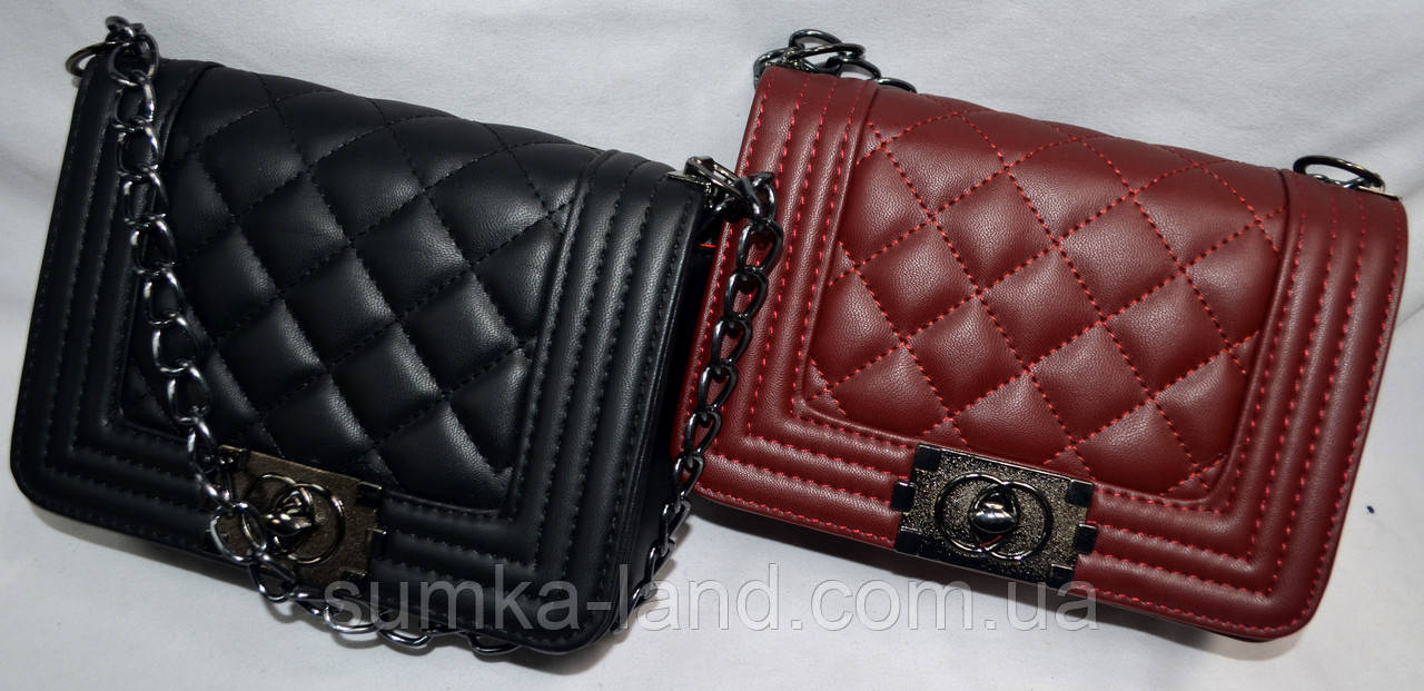 Женские молодежные клатчи Chanel на плечо на цепочке 20*14 см (черный и бордо)