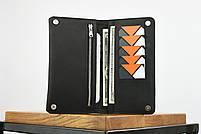 """Кожаный кошелек на купюру черного цвета """"travel case"""", фото 3"""