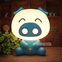 Детский светильник ночник Свинка, голубой