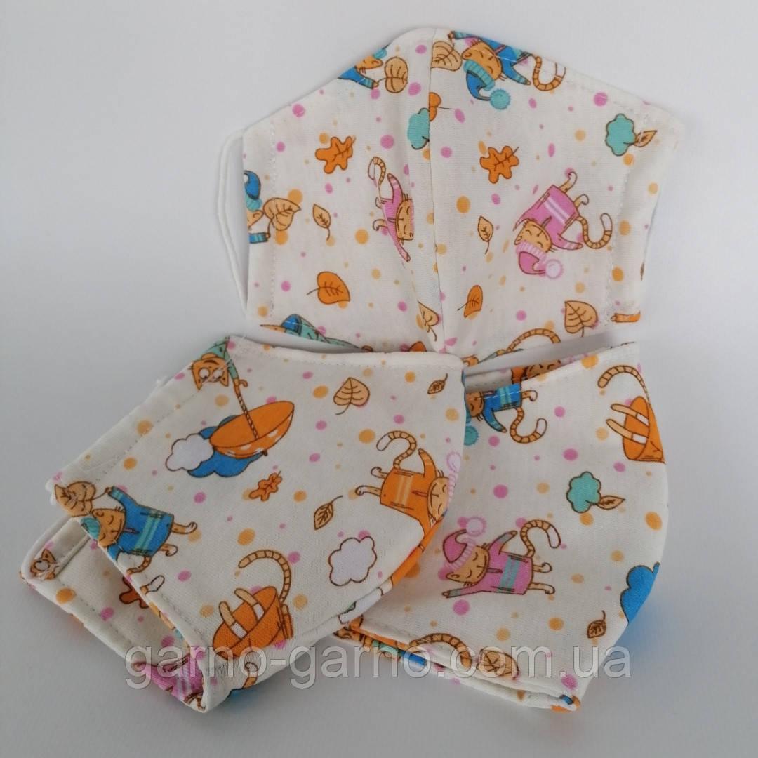 3 слойная многоразовая защитная маска с принтом хлопковая натуральный хлопок Подростковая Детская Женская коты