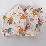 3 слойная многоразовая защитная маска с принтом хлопковая натуральный хлопок Подростковая Детская Женская коты, фото 4