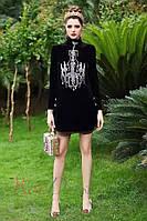 Платье из бархата с аппликацией «Люстра» Dolce&Gabbana. Люкс качество (S размер)