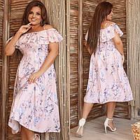 Стильное женское летнее платья с софта, на бретельках, с оголенными плечами воланами(48-62), фото 1