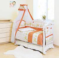 Детская постель для кроватки с балдахином Twins Standart Мишки со звездами C-018, теракот (9032)
